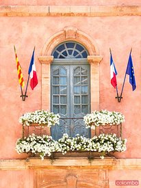 Detail of window of the Hotel de Ville, Roussillon, France