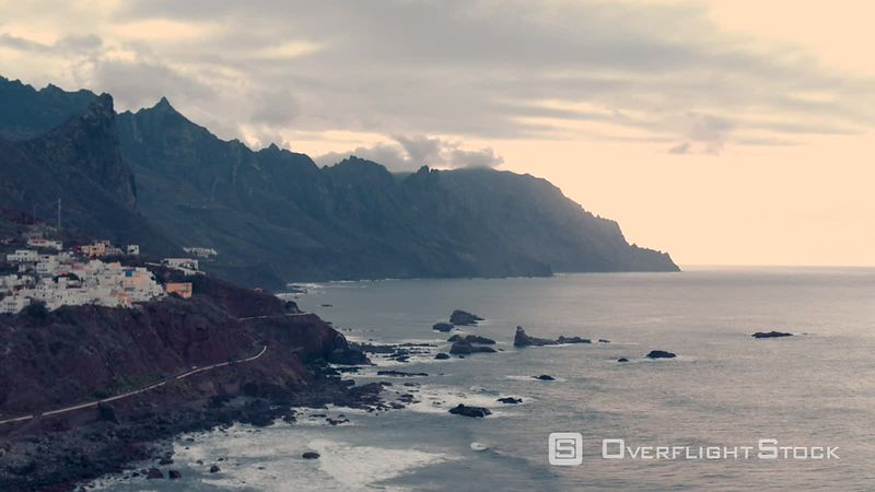 North Coast Tenerife, at sunset, filmed by drone, Playa Tanadise, Canary Islands