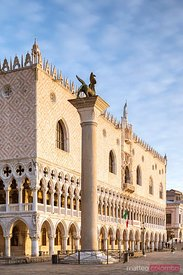 First light over Doges palace, Venice, Italy