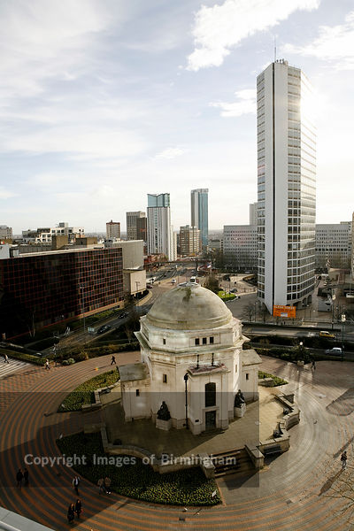 View from Baskerville House in Centenary Square, Birmingham England, UK. Showing Hall of Rememberance, Alpha Tower and Paradise Circus.