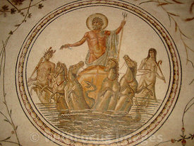 Roman Mosaic depicting the Triumph of Neptune, Bardo Museum, Tunisia, Landscape