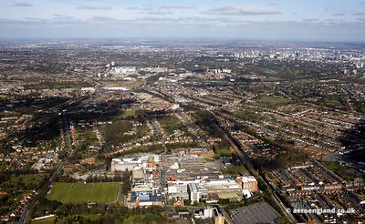 aerial photograph of Bournville Birmingham UK