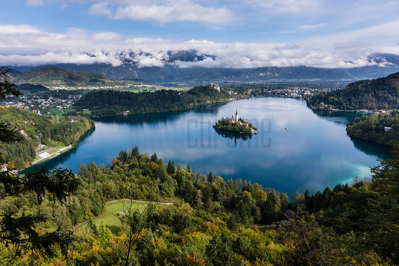 Elevated View of Lake Bled in the Autumn