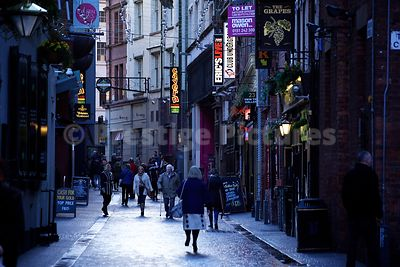 People Walking Through the world famous Mathew Street
