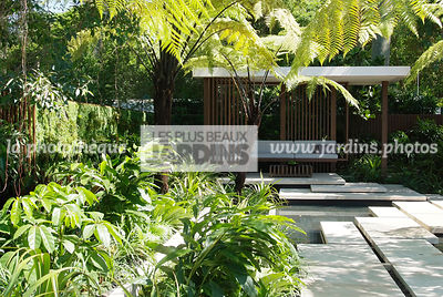 Asiatic garden, Contemporary furniture, Contemporary garden, Exotic garden, Garden construction, Garden furniture, Pavement, Resting area, Terrace, Tropical garden, Contemporary Terrace, Malaysian garden, Tree Fern