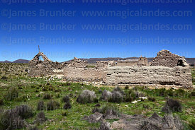 Ruined house and rustic church at Pasajes, Cordillera de Sama Biological Reserve, Bolivia