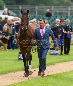Michael Ryan and DUNLOUGH STRIKER at the trot up, Land Rover Burghley Horse Trials 2018