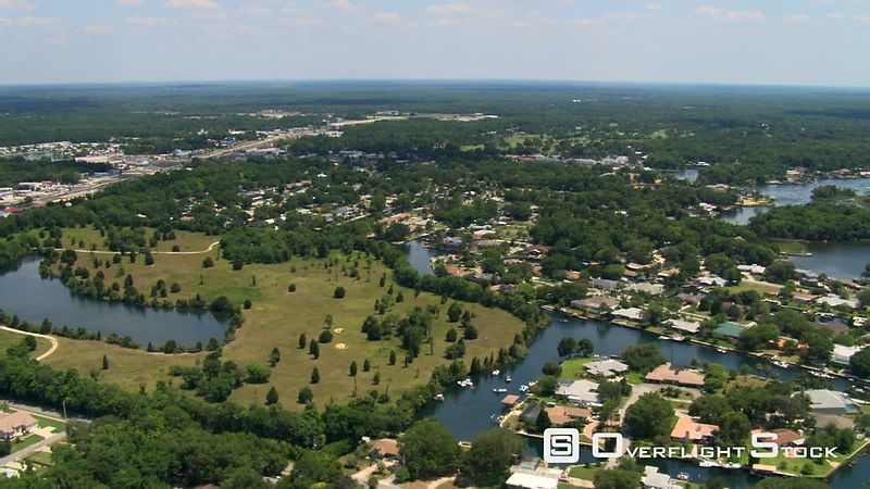 Flight over small town of Crystal River, Florida.
