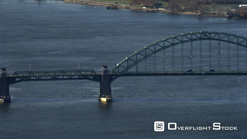 Over the Tacony-palmyra Bridge on the Delaware River  Tilt-up Reveals Philadelphia, Pennsylvania.