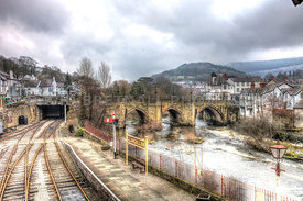 Llangollen Bridge, Railway and The River Dee