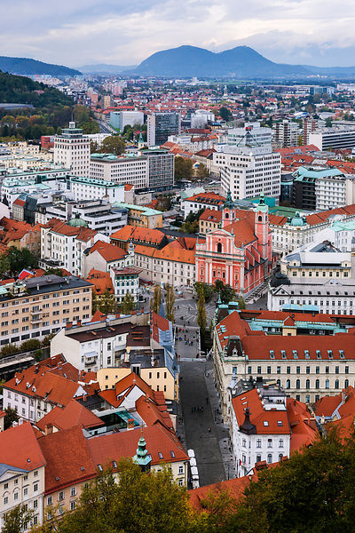 View of the Old Town from the Tower at Ljubljana Castle