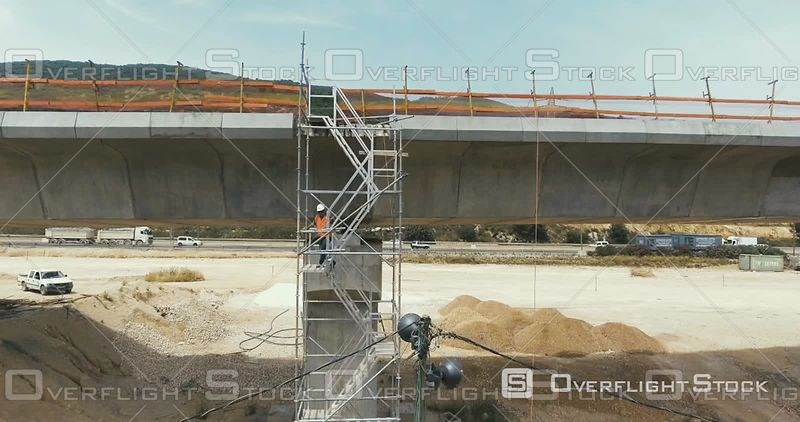 Workers at a Overpass and Highway Construction Project Israel