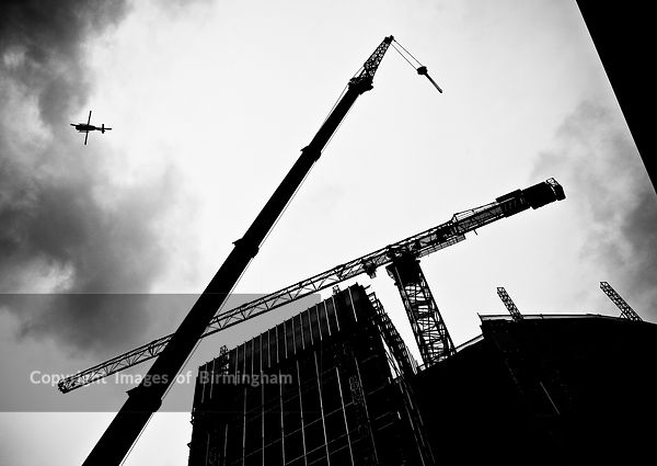 A crane used in the construction of 11 Brindleyplace, Birmingham, England.