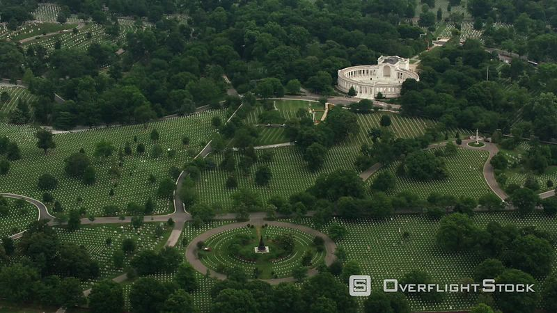 Washington, D.C. Aerial view of Arlington National Cemetery and Memorial Amphitheater.  Shot with Cineflex and RED EpicW Helium.