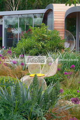 Bear's breeches, Chair, Contemporary garden, Garden furniture, Resting area, Digital, Grasses, Scenery, Summer