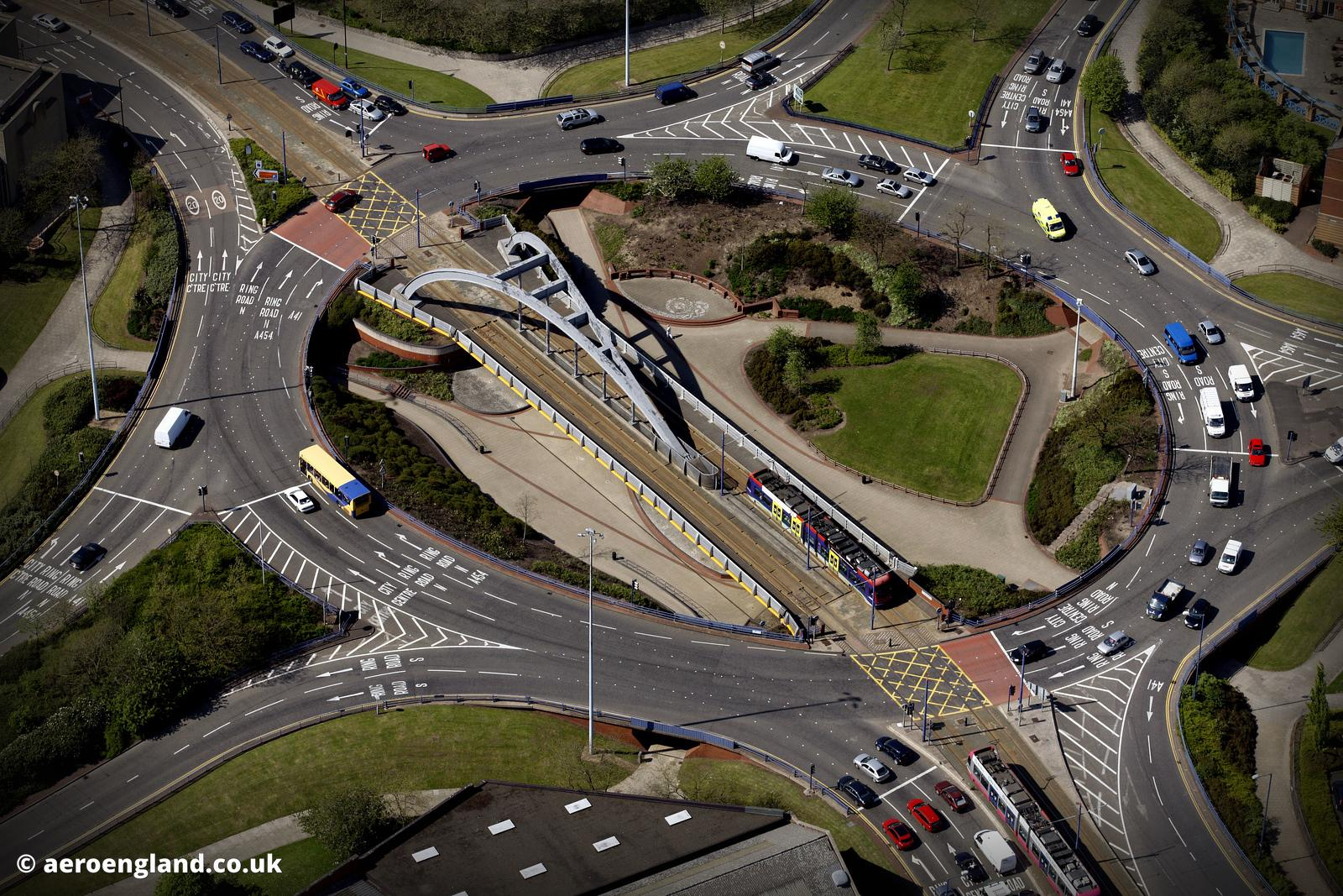 aerial photograph of Wishbone Bridge carrying the Midland Metro line over a roundabout on the  A454 Wolverhampton Wolverhampton England  UK