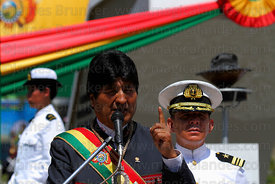 Bolivian president Evo Morales Ayma speaks to the nation during official events for Dia del Mar / Day of the Sea , Plaza Avaroa , La Paz , Bolivia
