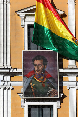 Portrait of Antonio José de Sucre on presidential palace for Independence Day, La Paz, Bolivia