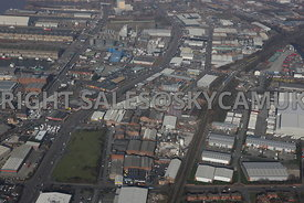 View of of Industrial area of Derby road and Sandhills district of Bootle