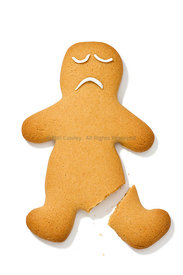 Gingerbread man with a broken leg