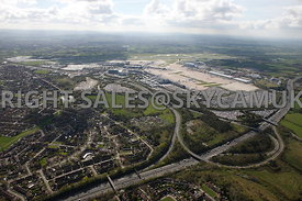 Manchester high level aerial views of M56 motorway junction 5 exit for Manchester AirPort Terminals