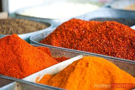 Chili pepper powder for sale at local market