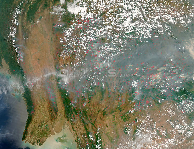 EARTH Southeast Asia -- 30 Mar 2005 --The dry season has taken hold in southeast Asia, as this satellite image of dense smoke and scores of fires illustrates.