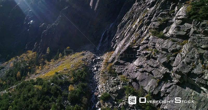 Waterfall, Mountains, 4k Rising View Towards a Swiss Waterfall a Alpinevalley, Sunny Autumn October Day, on Grimsel Pass, Bern, Switzerland
