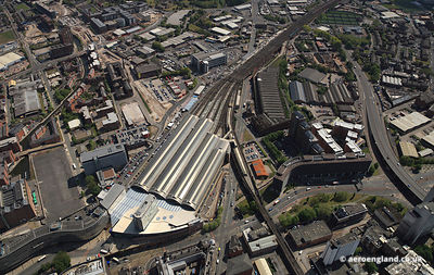 aerial photograph of Manchester Piccadilly Station in Manchester City Centre