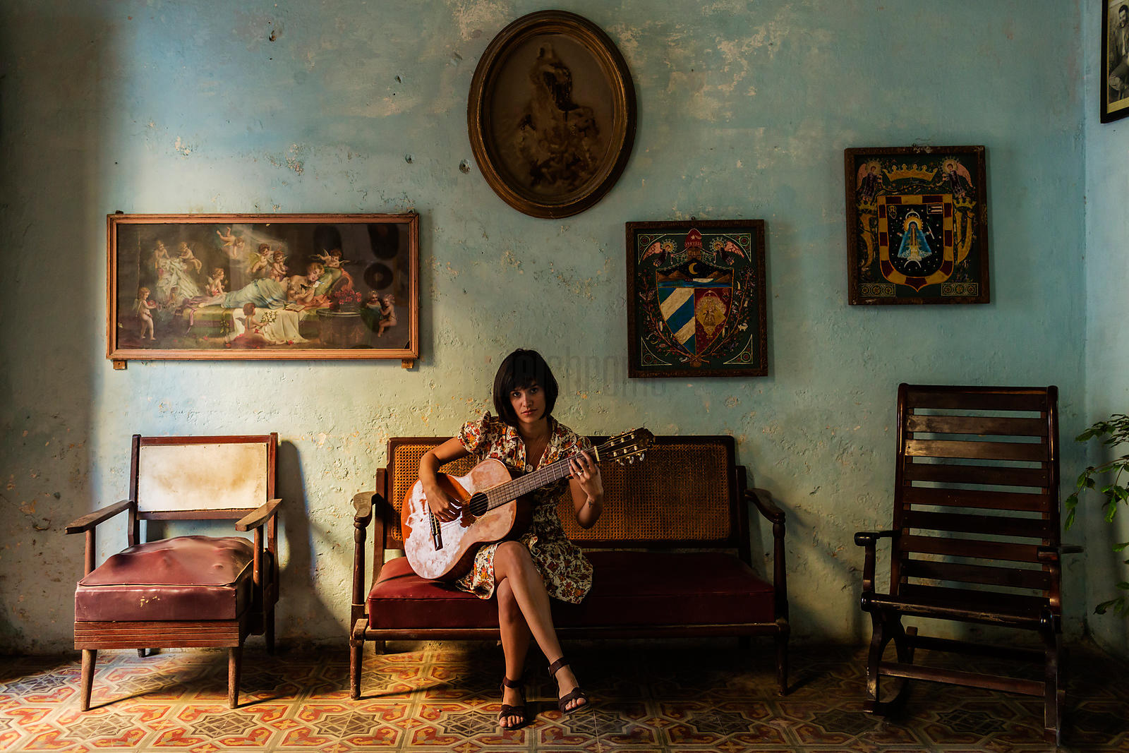 Musician Playing Guitar in a Cuban Home in Old Havana