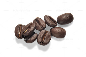 Roasted coffee beans isolated.