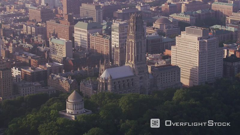 New York City Aerial view of Grant's Tomb and Riverside Church in Manhattan.  Shot with Cineflex and RED EpicW Helium.