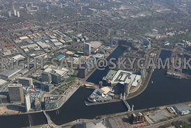 Manchester high level view of Media City the Lowry Centre and Salford Quays Salford