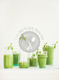 Matcha green smoothie with chia seeds, copy space, vertical composition