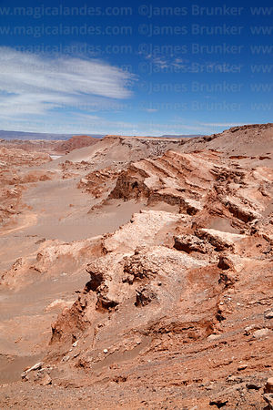 View over upper part of Quebrada de Cari in Cordillera de Sal from near San Pedro de Atacama, Region II, Chile