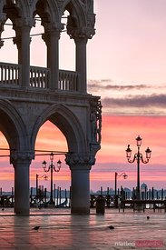 Doges palace at dawn in St Marks square, Venice