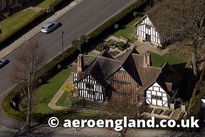aerial photograph of Selly Manor Birmingham, England UK,  is a cruck-framed timber 14th-century Manor House  which was built in Bournbrook and then moved to Bournville by Geore cadbury in 1914