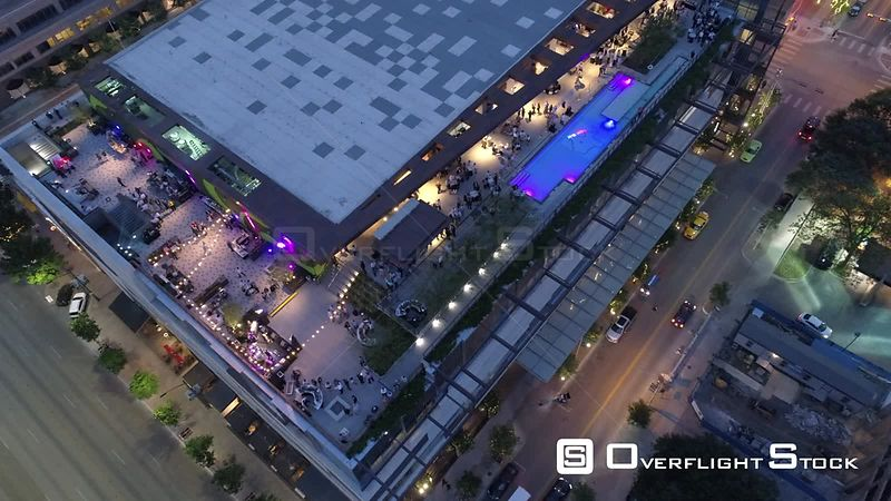 Drone Video JW Marriott Outside Terrace Downtown Austin Texas USA