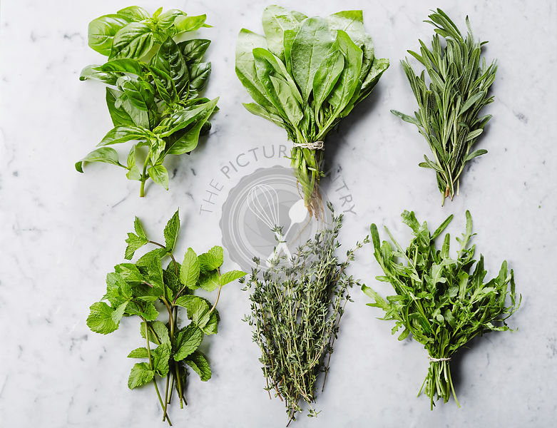Six bunches of herbs on marble countertop: basil, spinach, rosemary, mint, thyme, rucola