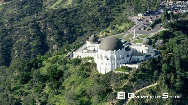 Red Epic Video Griffith Observatory Los Angeles California USA. Extremely rare view of the Hollywood Hills with lush green vegetation after winter rains!