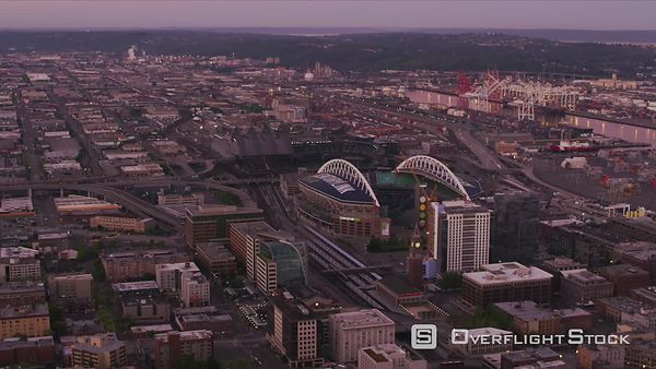Seattle, Washington Aerial view of Century Link Field.  Shot with Cineflex and RED EpicW Helium.