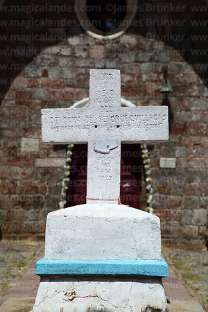 Detail of description on cross outside the Sanctuary of the Señor de Quillacas, Quillacas, Oruro Department, Bolivia
