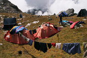 Life in Base Camp, drying clothes