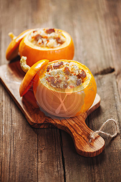Roasted stuffed pumpkins