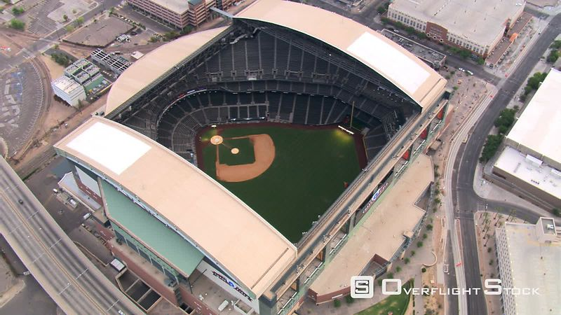 Close orbit of Chase Field in Phoenix, with roof retracted  home stadium of Arizona Diamondbacks.