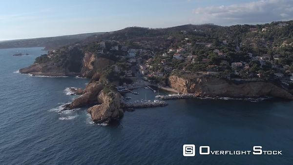Aerial view of Ensues-la-Redonne and Madrague de Gignac port, viewed by drone, filmed by drone, Ensues-la-Redonne, France