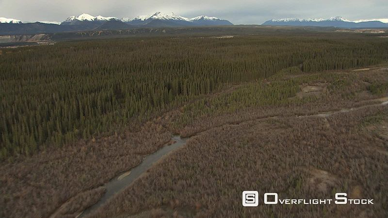 Flying over forest toward river valley in Alaska