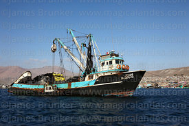 "Fishing boat ""Jesus"" moored in port , Ilo , Peru"