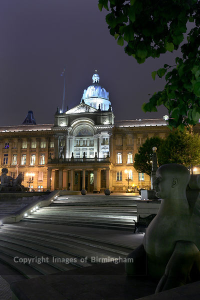 Victoria Square and Birmingham City Council House at dusk