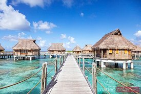 Water bungalows, Tikehau, Tuamotu, French Polynesia